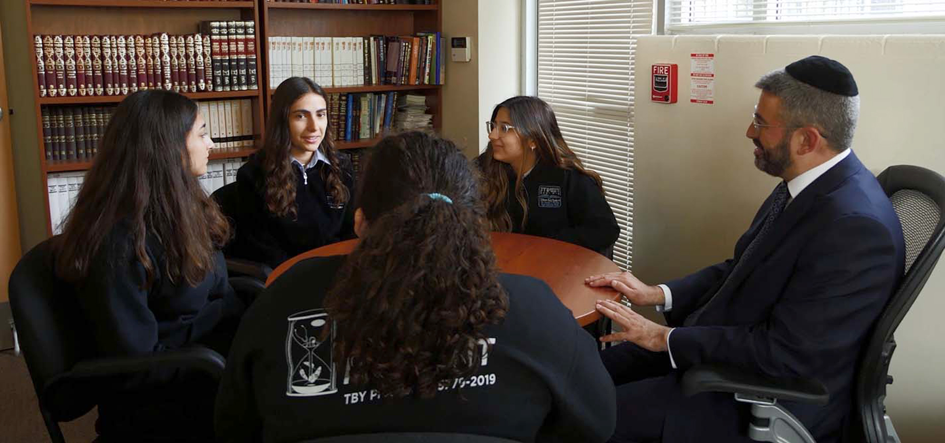 Students in Rabbi Zilber office